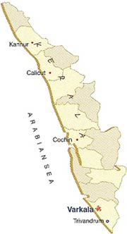 Varkala Location on Kerala Map