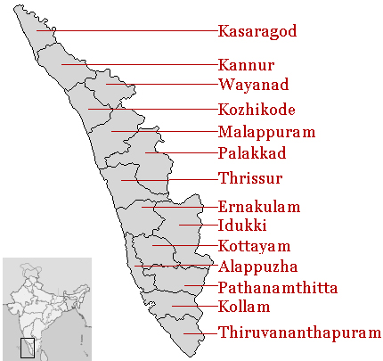 Kerala Districts and Location on Map